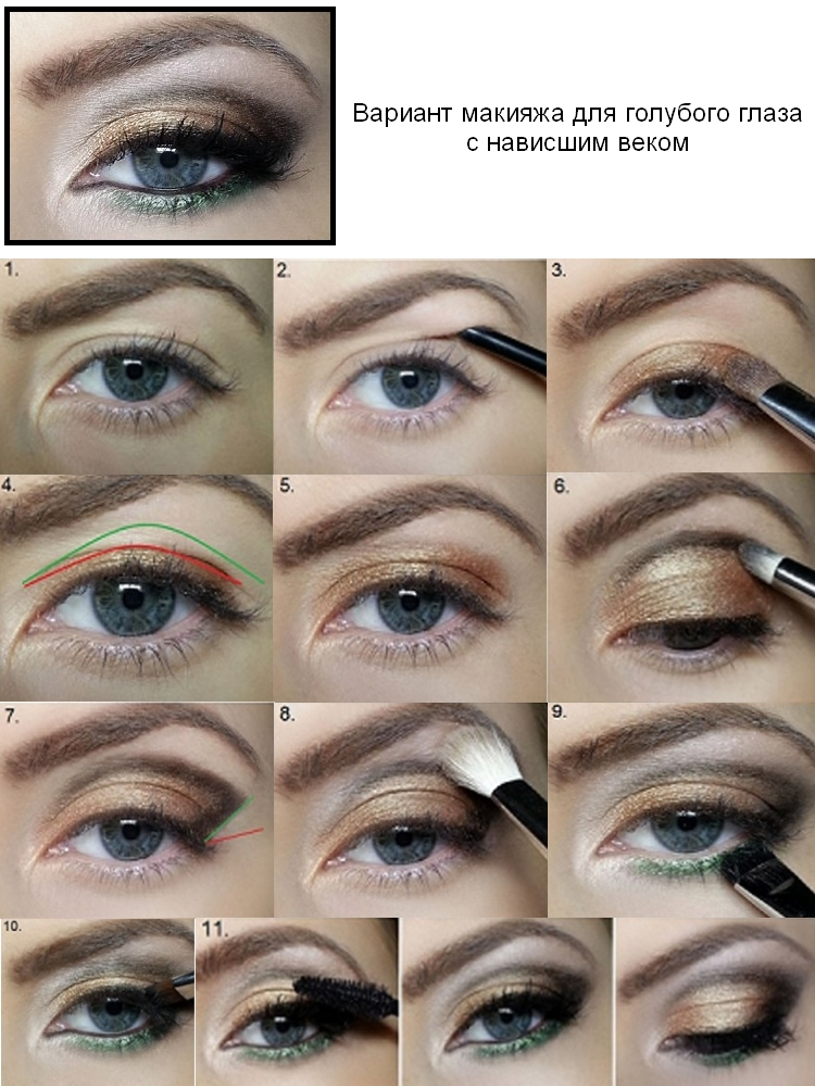 Макияж глаз с нависшим веком пошагово